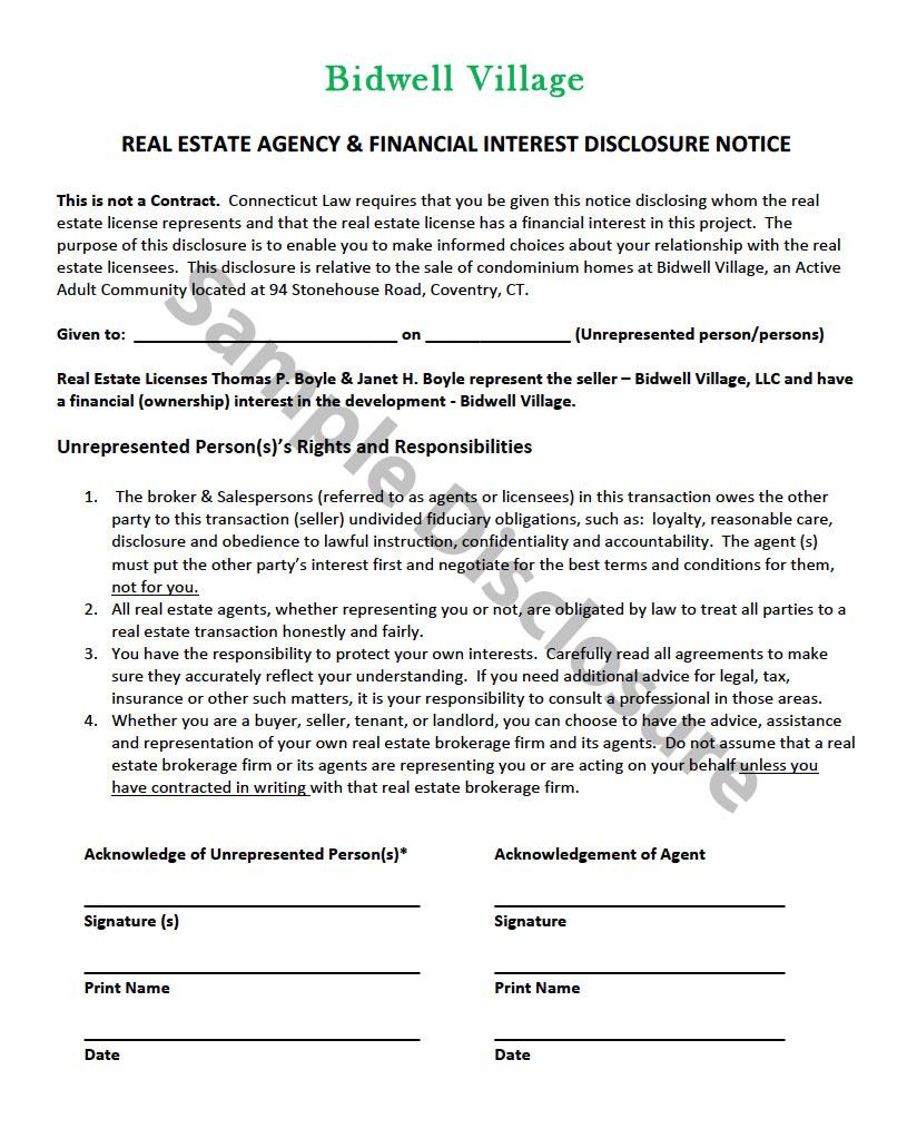 Sample Disclosure Notice